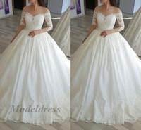 White Wedding Desses Western Style A Line Fllor Lunghezza dietro la spalla Tulle Sheer Neckline Illusion Maniche lunghe Appliques Abito da sposa