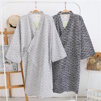Toptan severler Basit Japon kimono elbiseler erkek erkek için cüppe soyunma uzun kollu% 100 pamuklu bornoz moda rahat dalgaları bahar