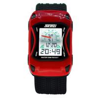 어린이 사랑스러운 자동차 시계 LED 방수 어린이 만화 크리 에이 티브 디지털 시계 손목 시계 소년 소녀를위한 선물 키즈 레드 블루 4Types