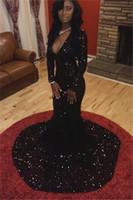 Bling блестки Русалка платья выпускного вечера с длинными рукавами Сексуальная погружаясь V-образным вырезом развертки поезд черная девушка вечерние платья вечерние платья