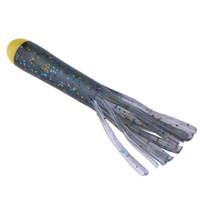 2ピース8g 10cmの柔らかいタコの餌のラウス針状のイカスカート黄色い頭と黒のボディイカ釣りルアー
