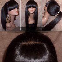 Perruque frontale de dentelle droite soyeuse avec franges complètes de queue de cheval vierge brésilienne cheveux humains de lacet pleine dentelle pour femmes couleur naturelle
