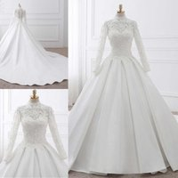 White Lace Wedding Dresses High Neck Long Sleeve With Appliq...