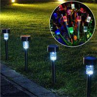 أضواء الشمسية الفولاذ المقاوم للصدأ Gardern المسار الحديقة مصابيح المناظر الطبيعية الديكور LED الضوء الأبيض الطاقة الشمسية الأرضية إدراج تحسس مصباح