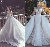 Junoesque Mermaid Lace Wedding Dresses Sheer Back Detachable...