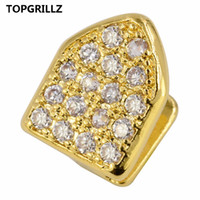 TOPGRILLZ Hip Hop Zähne Grillz Pure Gold Farbe vergoldet Single Cap Micro Pave CZ Zirkonia Top Tooh Grills Bling Grill