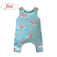Ins neue Sommer Säuglingsfuchs voller Druck Strampler Overalls Kinder blau Tierdruck Bogen Strampler Baby 100% Baumwolle Overalls 0-3years
