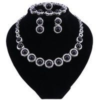 Retro simulerade pärla brud smycken sätter nya bröllop smycken ring örhängen armband halsband uppsättningar för kvinnor