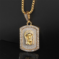 Golden Men Women Charm Rhinestone Egyptian Pharaoh Dog Tag Necklaces Hip Hop Chains Bling Last King Jewelry Gifts Pendants Gift