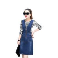 Frauen Zwei peice Sätze Frühling und Herbst Russland Trend Mädchen Langarm T-Shirt + Denim der beiläufigen Kleid Streifen-Patchworks blaue Reißverschlusstaschen