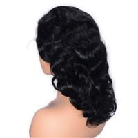 Siyah Kadın 16 inç Tutkalsız Dantel Peruk Brezilya Dalgalı Saç Peruk Kısa Dantel Ön İnsan Saç Peruk