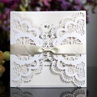100 unids Laser Cut invitaciones de boda tarjetas con flores 9 colores EngagementPearlescent invita tarjeta para boda fiesta cumpleaños Baby Shower
