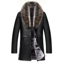 Mens Leather Jackets inverno casacos de pele 5XL Overcoat real Raccoon Fur Collar Shearling Quente Casacos blusão impermeável