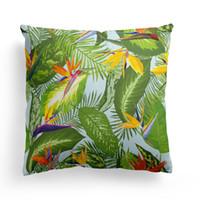 2018 yeni tropikal Strelitzia yeşil yaprak baskılı araba yastık örtüsü kanepe kanepe yastık kapak ev dekoratif dimi yastık 45 * 45 cm # H2