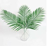 Carino grande verde foglie di palma plastica finto pianta artificiale foglia Home Office Decoration fai da te appeso foglie artificiali
