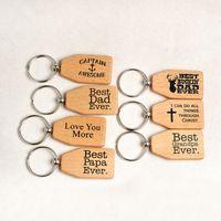실용적인 목조 합금 키 체인 영어 편지 패턴 키 링 아버지의 날 선물 Keychains 핫 세일 2 66qq VB