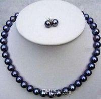 Mode Perlenketten 8-9mm Südsee schwarze Perlenkette 18 Zoll 925 silberne Haken-freie Ohrringe