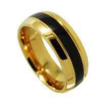 Anillo de carburo de tungsteno de 8 mm Dos ranuras de domo de oro y ranuras negras Bandas de boda de incrustaciones