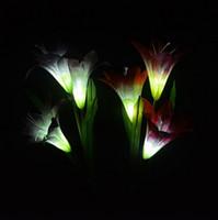 야외 조명 마당 정원 경로 길 풍경 장식 밤 램프 새로운 창조를위한 에너지 절약 변경 태양 백합 꽃 4 LED 라이트