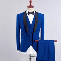 Королевские синие мужские костюмы 2020 Свадебные флота синий тонкий Fit Groom Tuxedo Бургундия мужской Blazer Black Shaw Shawal Oscel выпускной носить 3 шт. Куртка + брюки + жилет