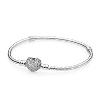 1pcs DropShipping Crystal Bracelets with Zircon Silver Bangle fits pandora Snake Chain Women Girl Gifts BR007