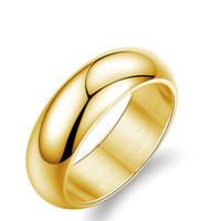 7mm Geniş Band Yüzük Altın / Gümüş Renk Aşk Coupe Yüzükler 316L Paslanmaz Çelik Yüzükler Kadınlar Erkekler Için Lover Düğün Parti Nişan Ücretsiz Kargo