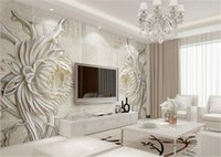Custom 3D Mural Wallpaper European Style Stone Carving Sunfl...