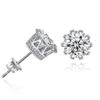 Billiga Silver Color Guldfärg 6mm Zircon Crown Stud Örhängen Modeparty Smycken Förlovning / Bröllopsgåvor för kvinnor