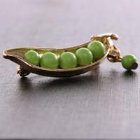 1 PC Gold Metal Green Pea Pretty Collar Pins Badge Corsage Spilla Gioielli Moda Pins Spille Accessorio per abbigliamento