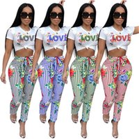 High Fashion Ladies Two Piece Set Sexy Jumpsuit Striped Love...