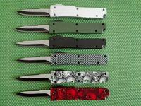 Mini Key Schnalle Messer Aluminium T6 grün schwarz Karton Faser double action Klappmesser Geschenkmesser Weihnachten Messer EDC-Tools 1PCS
