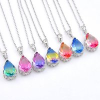 7 Pcs Luckyshine Drop Gradients BI- COLORED Tourmaline Cubic ...