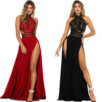 Fit and Flare Halter Lace Crochet Maxi Dresses Long Sheer Backless Back Zip Side Split Abiti per pavimento Sexy Dress Women