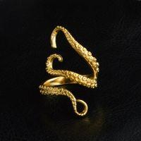 Новая мода титан стал Octopus Ленточных колец Унисекс Золото Серебро Открытой регулируемых Devilfish перстней ювелирных изделия