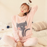 Thick Warm Flannel Pajama Sets for Women Winter Long Sleeve ...