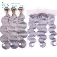 Fairgreat Grey Color 3 Bundles With Lace Frontal Brazilian 1...