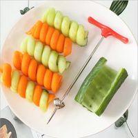 Manual Spiral Screw Slicer Plástico PP y alambre de acero patata zanahoria Pepino verduras cuchillo espirales herramienta de talla