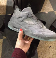 With box 4 kaws cool Grey Black men Basketball Shoes 4s IV t...