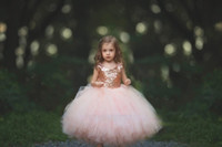Rose Or Sweety Country 2018 Robe De Bal Fleur Filles Robes Bijou Sans Manches En Tulle À Paillettes Jupes Etages Robe De Communion