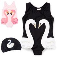 2020 새로운 여름 여자 비키니 어린이 원피스 동물 동물 인쇄 수영복 모자 패션 키즈 수영복
