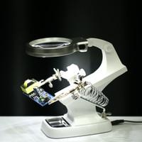 Freeshiping 3X4.5X Schweißen LED Lupa Lupe Lupe Krokodilklemmenhalter Clamp Helping Hand Lötkolben Reparatur Mgnifying Tool