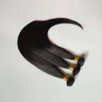 Venta al por mayor del pelo recto de armadura brasileña barato 3 de la trama del pelo 2016 de alta calidad de color natural 8-30inch extensiones de pelo chino 4 5 x Humano