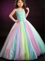 Superbe arc-en-ciel tulle halter perles fleur girl robes princesse robes de fille robes de pageant de fille taille personnalisée taille 2-6 8 10 12 14 kf316138