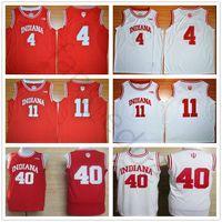 NCAA Indiana Hoosiers College 4 Isiah Thomas Jersey Rojo Blanco 40 Cody Zeller Cosido 11 camisetas de baloncesto de la Universidad Victor Oladipo Camisetas