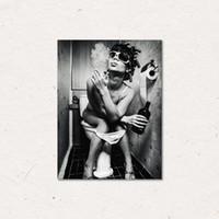 مرحاض مثير امرأة قماش يطبع فتاة التدخين وشرب اللوحات صور الملصقات