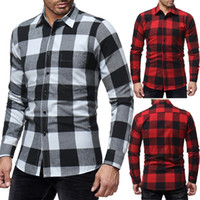 2018 autumn and winter new classic big plaid men' s casu...