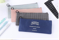 Brief Style Grid & Stripes Canvas Pencil Bag Stationery Stor...