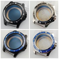 44mm Black Blue Ceramic Bezel Black Silver Stainless Steel W...