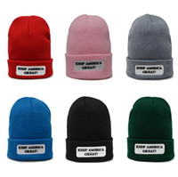 6 Colors Keep America Great Knitted Caps Teenager Winter War...