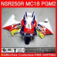 Vücut hote satış mavi HONDA NSR 250 R MC18 Için PGM2 NSR 250R NS250 NSR250R 88 89 78HM.9 MC16 NSR250 R RR NSR250RR 1988 1989 88 89 Fairings Kiti